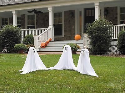"19"" Small Set of 3 Light Up Ghosts Halloween Ghost Lawn Yard Decoration Decor"