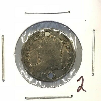 1829-1837 H10C Capped Bust Half Dime: Holed #2