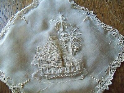 UNUSUAL LACE EMBROIDERY palm trees hut very fine