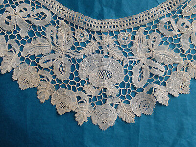 Neat antique Honiton lace collar - rose and leaf design
