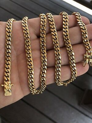 """6mm Mens Cuban Miami Link Chain 14k Gold Plated Stainless Steel 28"""" Best Quality"""