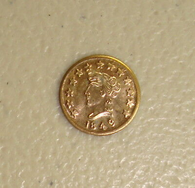 1849 Dated Liberty Head / Locke Bear Type #2 California Gold Token Uncirculated