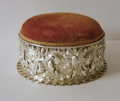Fine Quality Flower Embossed Sterling Silver Mounted Pin Cushion Birmingham 1900