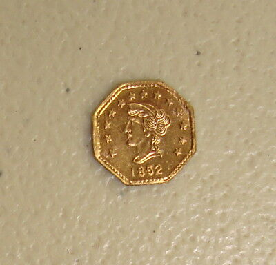 1852 Dated Liberty Head / Locke Bear Type #3 California Gold Token Uncirculated