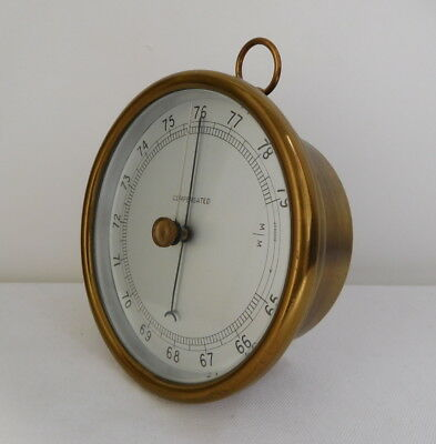 Vintage Compensated Brass Barometer Marked in Millimetres Excellent Condition