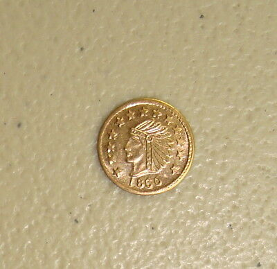 1860 Dated Indian Head / Locke Bear Type #2 California Gold Token Uncirculated