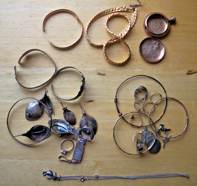 Vintage 158 Grams Of Sterling Silver & Gold Estate Jewelry Lot Wear & Scrap
