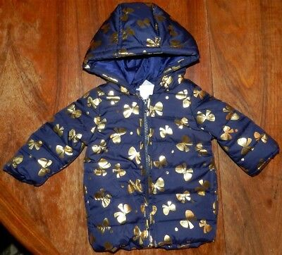 Winter Coat Navy Gymboree Puff Hooded Golden Bow Girl sz XS (4) New