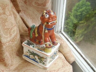 Old Antique 18th Century Chinese Enamel Porcelain Foo Dog Chinese guardian lion