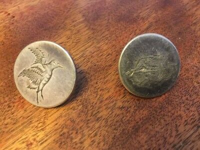 Pair of Silver Sporting Buttons. Hare and Game Bird. Hunting.