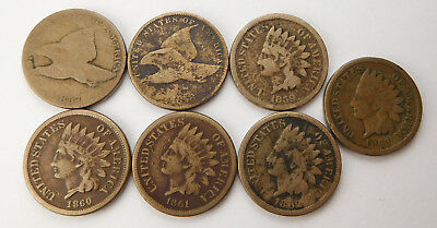 1857,1858 Flying Eagle 1859-1863 Indian Head Cents- Lot of 7