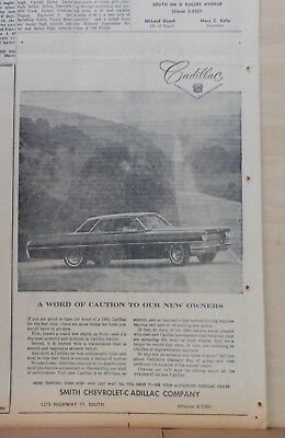 1964 newspaper ad for Cadillac - Word of Caution to New Owners, Cadillac photo