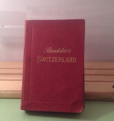 Antique Baedeker Switzerland tour guide book 17th Ed., 1897. complete all maps