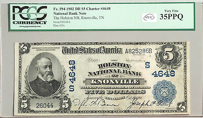 1902 $5 National Bank Note Knoxville Tennessee FR#594 Charter# 4648 PCGS 35 PPQ