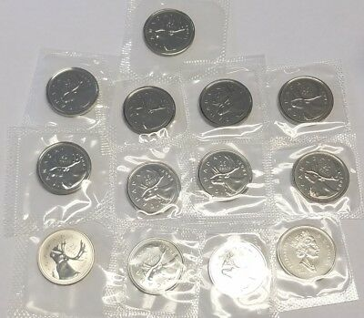 1993-2006 Canada 25 Twenty-Five Cents Coins Lot of 13 from PL Mint Sets