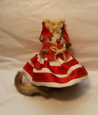 Vintage LITTLE MOUSE Germany Real Fur Toy Label Queen? Red & White SO CUTE
