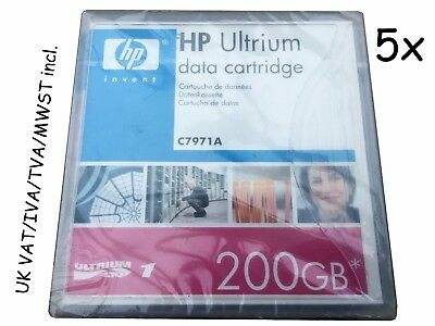 5x C7971A LTO1 100/200GB Ultrium HP Tape Data Cartridge New Genuine Original