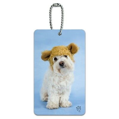 Bichon Maltese Puppy Dog Wearing Bear Hat Luggage Card Suitcase Carry-On ID Tag