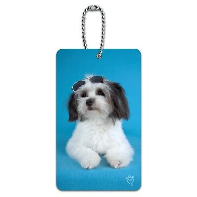 Maltese Papillion Puppy Dog Cool Sunglasses Shades Luggage Card Carry-On ID Tag