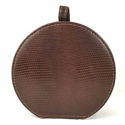 """Vintage 12"""" Round Hat Box Suitcase Brown Faux Reptile Zipper Closure With Mirror"""
