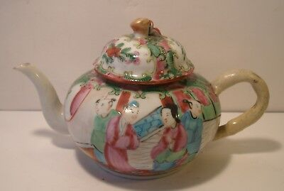 Small Chinese Cantonese Famille Rose Hand Painted Teapot A/F