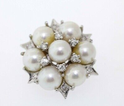 Antique 14k White Gold 6mm Pearl & .27ct Round Diamond Cluster Pin Brooch