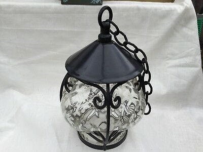 Vintage Arts & Crafts Blown Glass and Wrought Iron Porch Light.