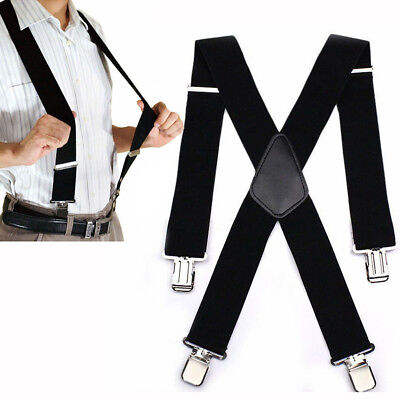 Mens Suspenders X Style Very Strong Clips Adjustable Fits All Heavy Duty Braces