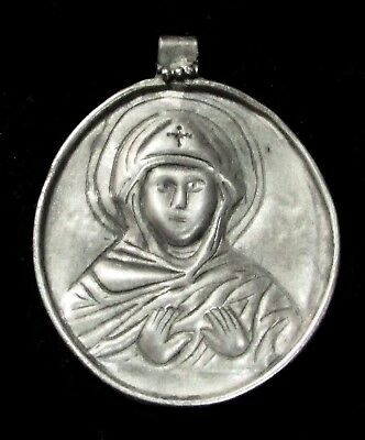 10th - 12th c. AD LATE BYZANTINE SILVER MARY MOTHER OF GOD THEOTOKOS PENDANT