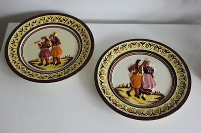 """Pair of HB Henriot Quimper plates hand painted 3D pottery French France 10"""""""