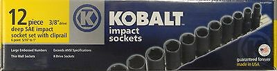 "Kobalt 97669 12 Piece 3/8"" Drive 6 Point SAE Deep Impact Socket Set 5/16""-1"" USA"