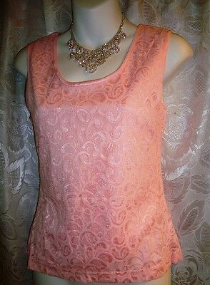 Sexy, Pink Stretchy Lined Lace Floral Fitted Camisole,scoop Neck-Small--#09