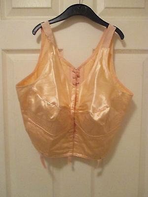 1930s/40s bra with hooks and ribbon ties.Large size