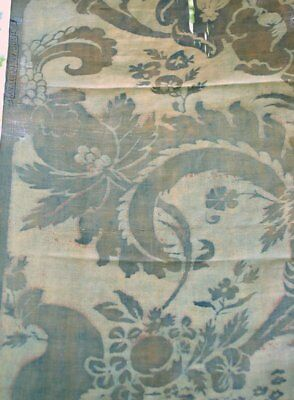Antique 1910 Mariano Fortuny Single Fabric Panel In Olimpia Pattern