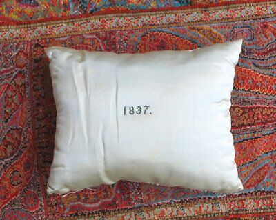 Antique Rare Dated 1837 Silk Pillow Welcoming Baby Beaded