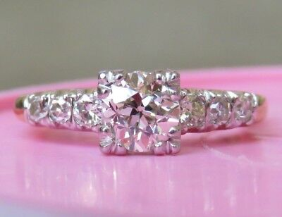 14K Antique Vintage Art Deco Old European Cut Diamond Solitaire Engagement Ring