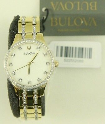 Bulova Women's Two Tone Crystal Accent 32mm Quartz Watch 98x119 - NEW