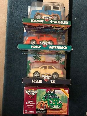 In Box Lot of Chevron Collector Cars Holly Hatchback, Leslie LX, Frankie, Freddy