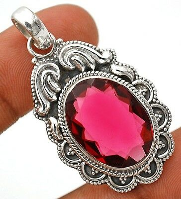 22CT Rubellite Tourmaline 925 Solid Sterling Silver Pendant Jewelry