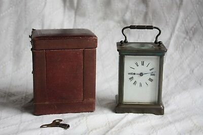 NICE ANTIQUE SMALL CARRIAGE CLOCK AND CASE WORKS BUT NEEDS RESTORATION c1900