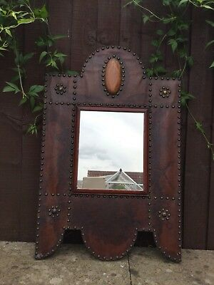 Arts & Crafts Mirror. Large Leather Covered with Stud Decoration.