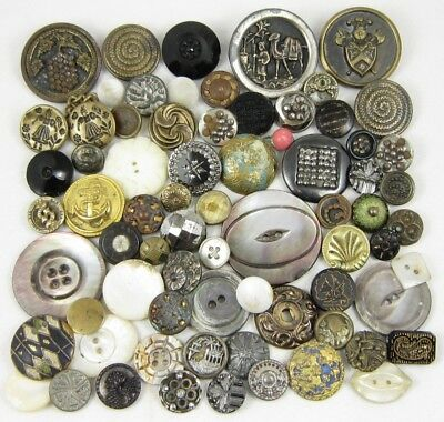 Antique Vintage Buttons ~ ALL w/CONDITION ISSUES ~ Metal-Glass-MOP-Picture-More!