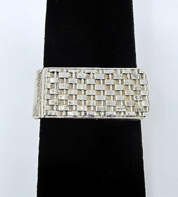 925 Sterling Silver Basket Woven Money Clip 18.6g ASY3675