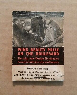 """Dodge Bros.Presents """"Mickey Takes Minnie For a Ride"""" Flip Book,1929-30"""