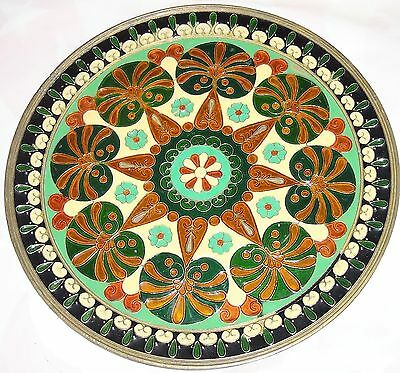 Enamel Bronze Ancient Greek Art Work Floral Wall Decorative Round Plate Vintage