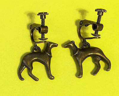 Standing Greyhound or Whippet Dog Charm Combo Clip Earrings, Bronze