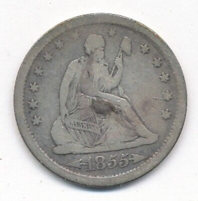 1855 Arrows Seated Liberty Silver Quarter Exact Coin Shown - FREE Shipping