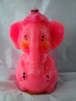Vintage GURLEY 8-inch Pink Elephant Candle - Unburned with Cardboard Base