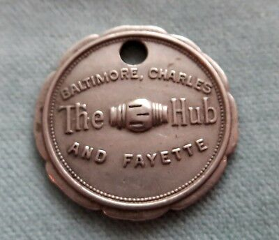 Early Medallion Charge Card (Charge Coin) Moses Hecht Co Metal THE HUB Baltimore