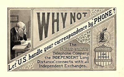 1905 United States Telephone Co, Cleveland, Ohio Independent Long Distance Ad